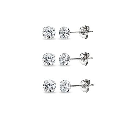 Amazon.com  3 Pair Set 14K White Gold Cubic Zirconia Tiny 3mm Round Stud  Earrings for Men 00df270aa1