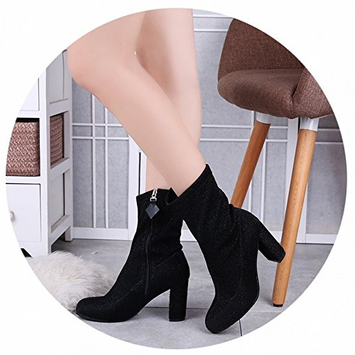 round Head side Zipper Thick with Martin Boots in the Boots Waterproof Platform High-Heeled Women Boots , silver , EUR34