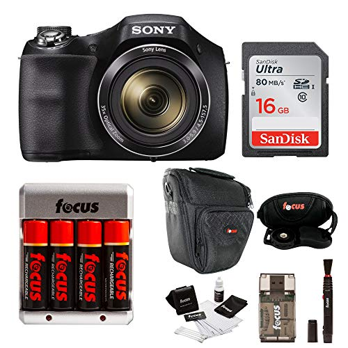 Sony DSC-H300/B Digital Camera with Rechargeable NiMH AA Batteries and 16GB SDHC Accessory Bundle ()