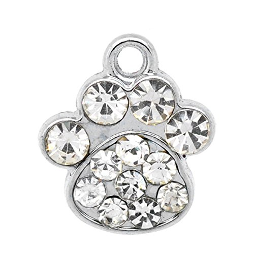 Housweety 10PCs Silver Tone Rhinestone Dog's Paw Charm Pendants Fit DIY Bangle (Dog Theme Charm Bracelet)