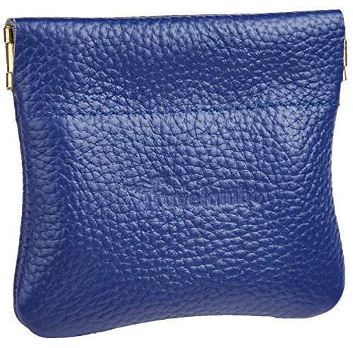 Travelambo Leather Squeeze Coin Purse Pouch Change Holder For Men & Women (pebble Blue Navy)