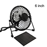 Adealink 4''/6''/8'' USB Solar Panel Powered Iron Fan 5W for Outdoor Home Cooling Ventilation