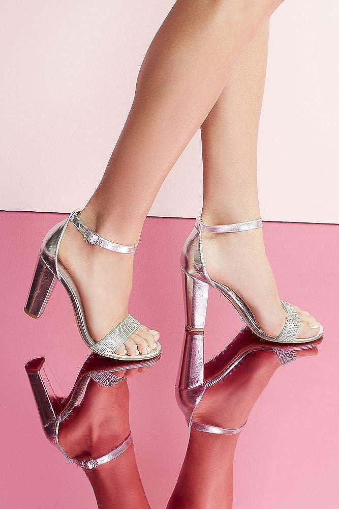 Davids Bridal Crystal-Strap Metallic Block Heel Sandals Style Brynne