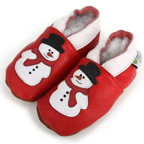 AUGUSTA BABY Baby Boys Girls First Walker Soft Sole Leather Baby Shoes - Genuine Leather Snowman red
