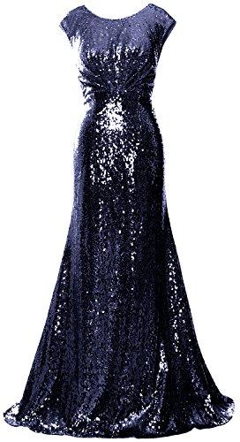 da Dark Navy lungo MACloth abito formale sera onore damigella Sequin partito donne Fodero da abito d' 4AxZn6q7Aw