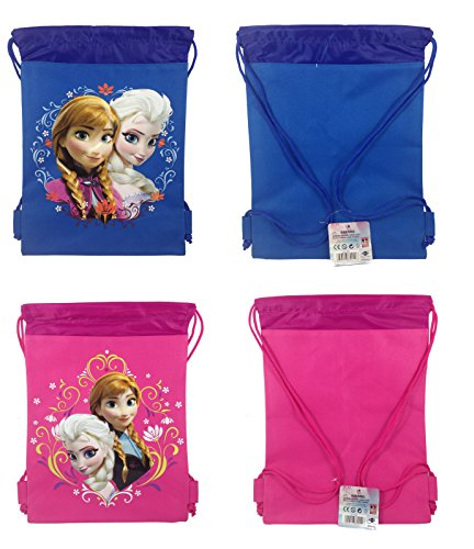 Disney Frozen Queen Elsa and Anna Pink and Royal Blue Drawstring Backpack