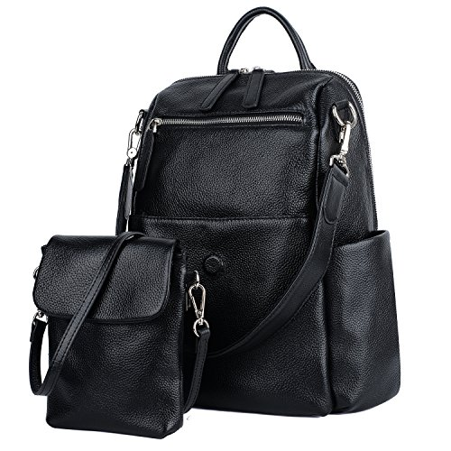 Large Flap Purse - YALUXE Women's Convertible Leather Shoulder Bag Versatile Backpack with Removable Small Crossbody Bag Black