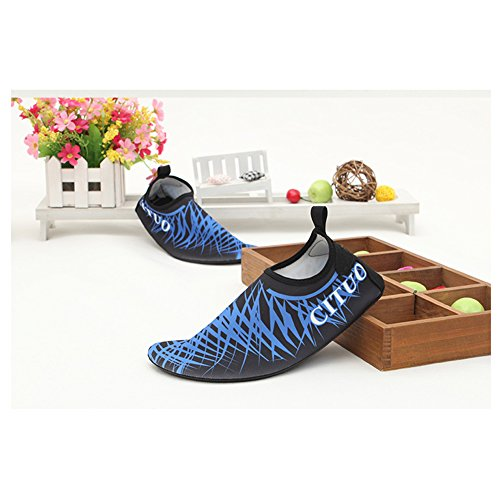 EQUICK Frauen Wasser Schuhe Quick-Dry Verschnaufpause Sport Haut Schuhe Barfuß Anti-Rutsch-Multifunktionssocken Yoga Übung 3blue