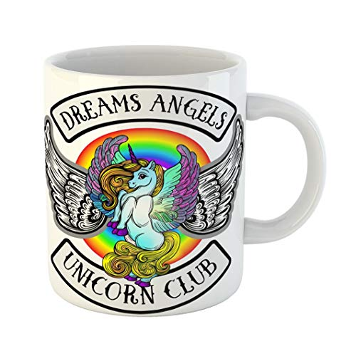 (Emvency 11 Ounces Coffee Mug Colorful Cute Emblem Unicorns Wings Beautiful Line Boho Chic Stripe Dreams Angels Club Pink Pegasus Animal White Ceramic Glossy Tea Cup gift)