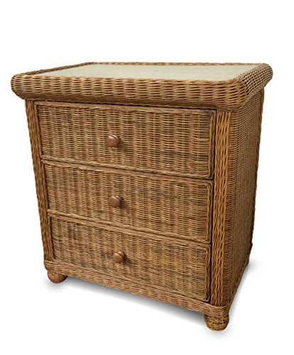 Wicker Paradise GA103H Elanamar Designs Natural Wicker on a Wood Frame, 3 drawer chest, Honey (Wicker And Drawers Wood)