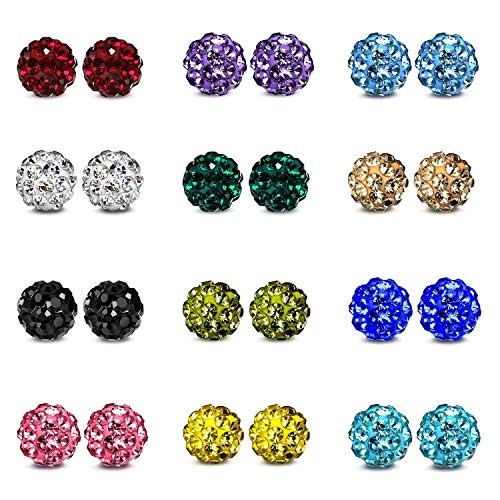 JewelrieShop Rhinestones Crystal Ball Stud Earrings Set Fireball Disco Ball Pave Bead Earrings Hypoallergenic for Teen Girls Women (02. 12 Pairs, 6mm)...