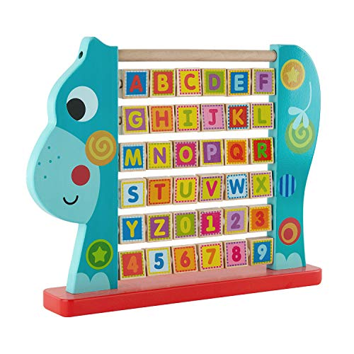 Hippo Alphabet Abacus, Classic Wooden Educational Toy, Colorful Letters and Shapes, ABC Abacus, 30-Tile Learning Activity Center, 1-5 Years