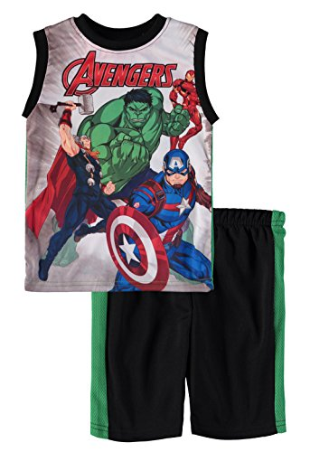 Superhero Boys' Batman Superman Spiderman Tank Top Short Set (Avengers/Green, 2T)]()
