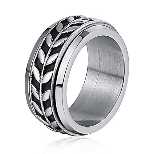 Gnzoe 316L Stainless Steel Ring For Men Olive Branch Sliver Size 8 Polished Punk Style by Gnzoe