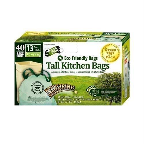 Green N Pack Eco Friendly 13 Gallon Drawstring Bag, Tall Kitchen Trash Bags,