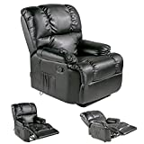 Merax Heated Vibrating PU Leather Massage Recliner Chair (Black )