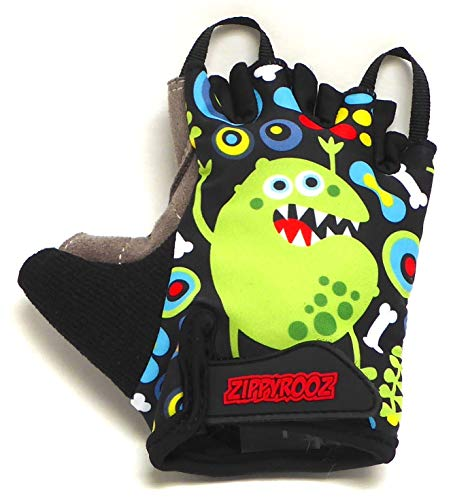 ZippyRooz Toddler & Little Kids Bike Gloves for Balance and Pedal Bicycles (Formerly WeeRiderz) For Ages 1-8 Years Old. 6 Designs for Boys & Girls (ZR Monsters, Little Kids Medium (3-4))