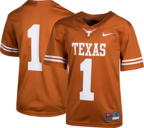 NIKE Boys' Texas Longhorns #1 Burnt Orange Game Football Jersey - Jerseys Nike Texas
