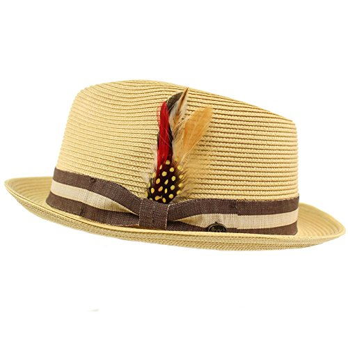 (Men's Stripe Band Removable Feather Derby Fedora Curled Brim Hat S/M)