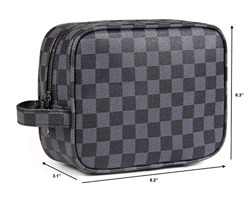 Daisy Rose Luxury Checkered Make Up Bag   PU Vegan Leather Cosmetic toiletry Travel bag