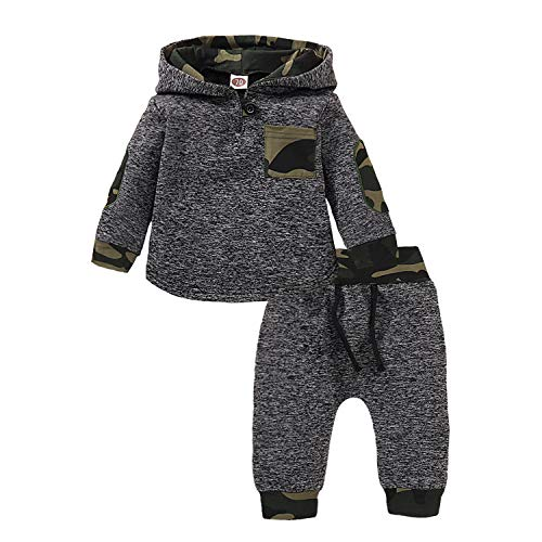Kids Toddler Infant Baby Boys Girls Fall Outfit Plaid Pocket Hoodie Sweatshirt Jackets Shirt+Pants Winter Clothes Set (Camouflage, 6-12 Months)