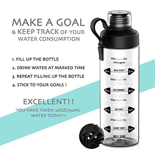 d183a12924 Artoid Mode 750ml Motivational Fitness Workout Sports Water Bottle with Time  Marker & Measurements | Carbonation Friendly | Goal Marked Times For  Measuring ...