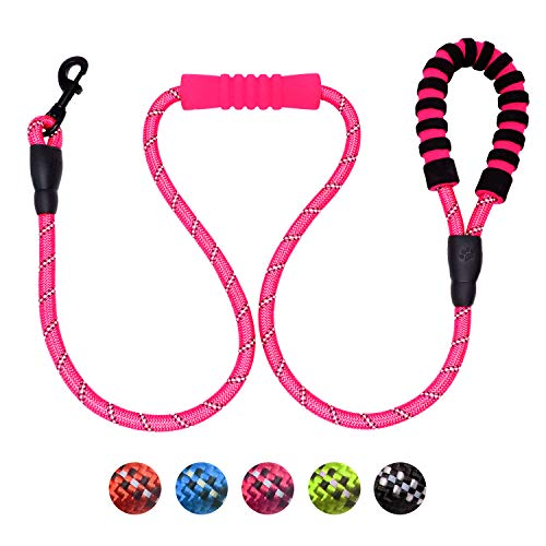 TagME 5 FT Rope Dog Leash, Double Soft Padded Handle, Thick Mountain Climbing Rope, Highly Reflective Threads, Pink