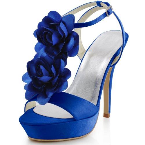 Elegante Piattaforma Da Donna Tacco Alto Con Cinturini Alla Caviglia In Raso Sandali Da Sera A Due Fiori Blu