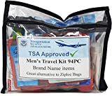 TSA Approved Men's Travel Toiletry Kit, 94 Piece Set. Great Gifts for Men, Travel Companions or Business Trips.
