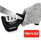 professional knife sharpener- GUOXUAN 3- Stage Diamond Coated sharpening with Ceramic Rod, Sharpens Dull Knives Quickly, Safe and Easy, Cut-Resistant Glove Included