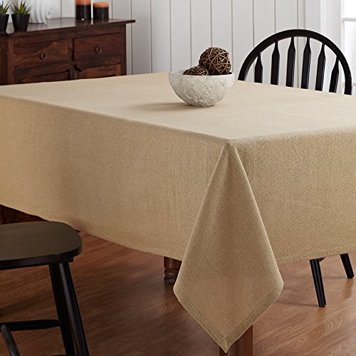 Christmas Tablescape Décor - Natural burlap look washable 100% cotton tablecloth