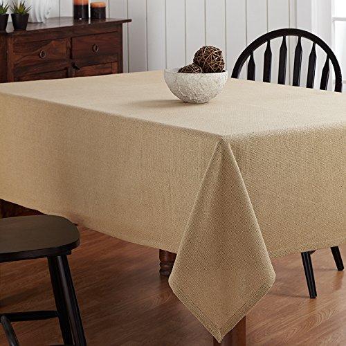 Christmas Tablescape Décor - Natural burlap look washable 100% cotton tablecloth