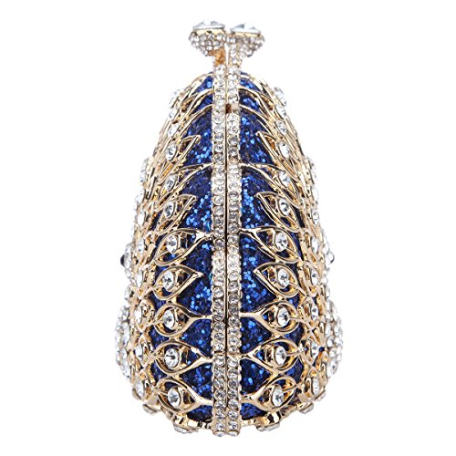 Evening Animal Peacock Shape Bag Metallic Purse Clutch Gorgeous Bonjanvye Blue TfZqSn