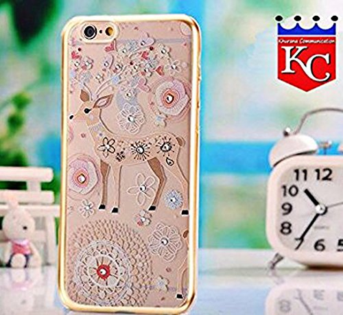 iPhone 6s Plus Cases - Soft Shockproof Silicone 3D Printed Deer Jungle Case Transparent iPhone 6s Plus Back Cover for Girls - Gold