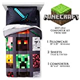 Minecraft Epic Bedding Set Twin Size - Limited Edition 2017 Bundle - Comforter, Bed Sheet, Pillowcase - Christmas Boy Gift