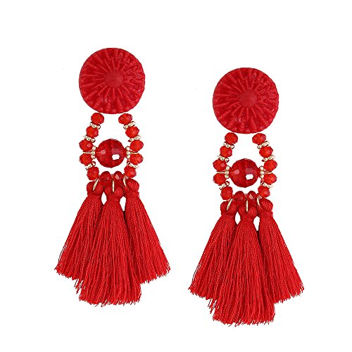 Misaky Fashion Tassel Chandeliers Drop Earrings (Red)