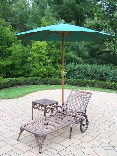 Oakland Living Mississippi Cast Aluminum 1 Chaise Lounge with 18-Inch Side Table, 9-Feet Green Umbrella and Stand