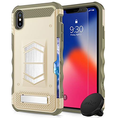 Zizo Electro Series Compatible with iPhone X Case with Tempered Glass Screen Protector and Air Vent Magnetic Holder iPhone Xs Desert Tan Camo - Case Tan Desert