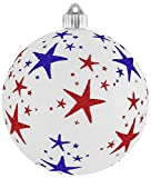 Christmas By Krebs KBX84215 Patriotic Decoration-Commercial Grade, Water-Resistant 4th of July/Memorial Day/Military Celebration Glitter Ball, 6'', White Glitter with Red and Blue Stars