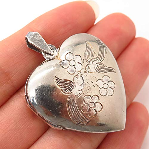 925 Sterling Silver Vintage Etched Bird & Floral Design Heart Locket Pendant Jewelry Making Supply by Wholesale Charms