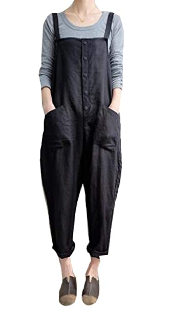 9ae8fdb14ee5 Amazon.com  ouxiuli Women Large Plus Size Baggy Overalls Casual Wide Leg  Pants Sleeveless Rompers Jumpsuit Vintage Haren Overalls  Clothing