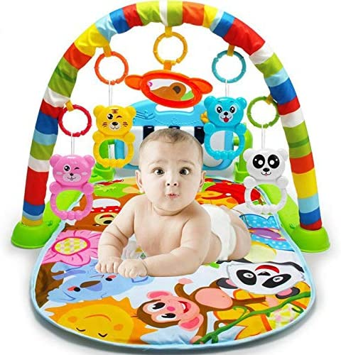 Xiangtat Baby Kick n Play Piano Gym Toys Colourful Musical Play Gym Playgym Piano Play Mats Playmat Animal