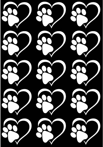 Heart Dog Cat Paw Print White 17CC783 Fused Glass Decals (must be kiln fired) (Decals Kiln Fired)