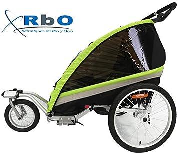 RBO509 Remolque de Bicicleta para niños Travel, 2 PLAZAS, Plegado rapido, antivuelvo, Manillar Regulable, Rueda 360, Frenos Independientes.