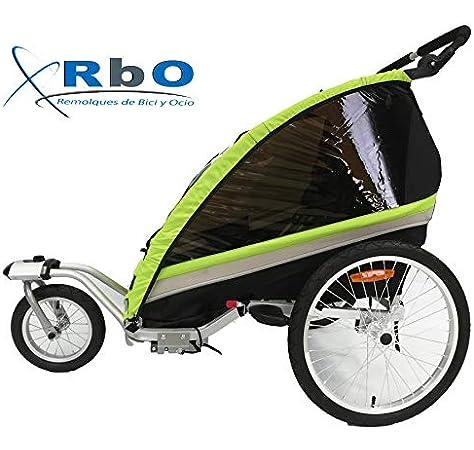 HOMCOM Remolque Infantil para Bicicleta 2 PLAZAS Rueda Giratoria ...