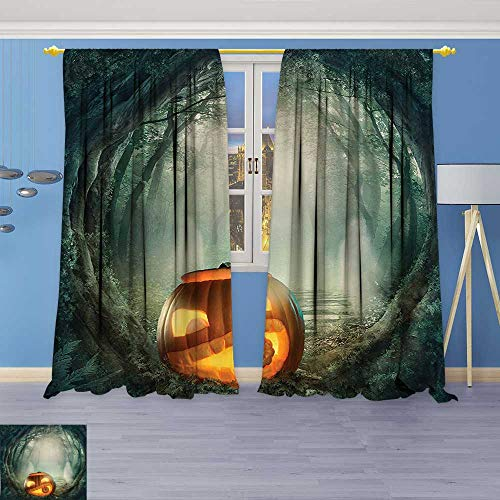 Embossed Thermal Weaved Grommet Blackout Curtains Collection Big Scary Halloween Pumpkin in Enchanted Forest Mystic Twilight Party Themed Orange Blocks up to 80% of Sunlight- Premium Draperies