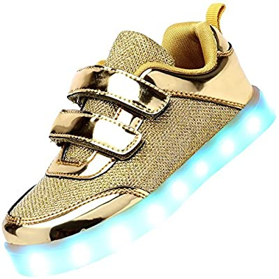 Kids Led Light Up Shoes Fashion Breathable Double Velcro Children Casual Running Sneakers