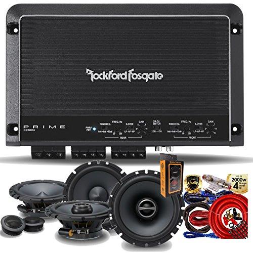 """Rockford Fosgate R250X4 Prime 250 Watts 4-Channel Amplifier + (2) Alpine SPS-610C 6-1/2"""" 2-Way Component Speaker + (2) SPS-610 6-1/2"""" 2-Way Speaker + Amp Kit"""