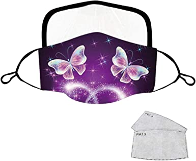 5Pack Face Protection with 10 Filters Fashion 3D Butterfly Print Reusable Washable