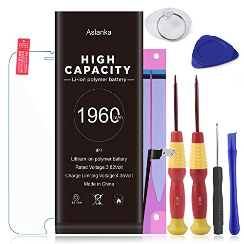Aslanka Battery for iPhone 7, Battery Replacement New 0 Cycle,with Repair Tool Kits Include Adhesive & Instructions and Screen Protector -[2 Year Warranty]